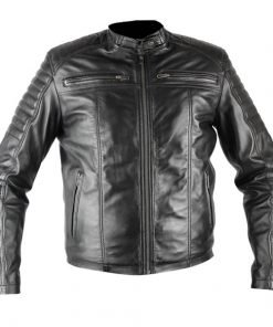 Mens Herren Black Biker Faux Leather Jacket