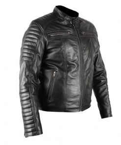 Mens Herren Genuine Black Biker Real Leather Jacket