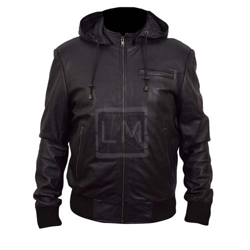 Black Bomber Leather Jacket with Leather Hoodie