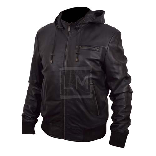 Mens Hoodie Black Bomber Leather Jacket