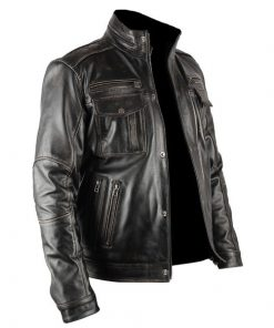 Mens Infinity Distressed Black Genuine Real Leather Jacket