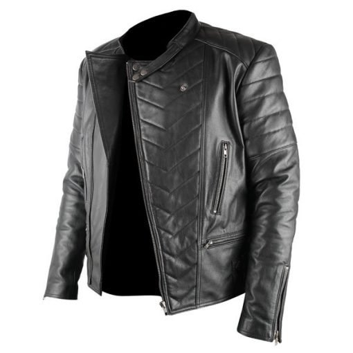 Mens Racer Black Biker Genuine Real Leather Jacket