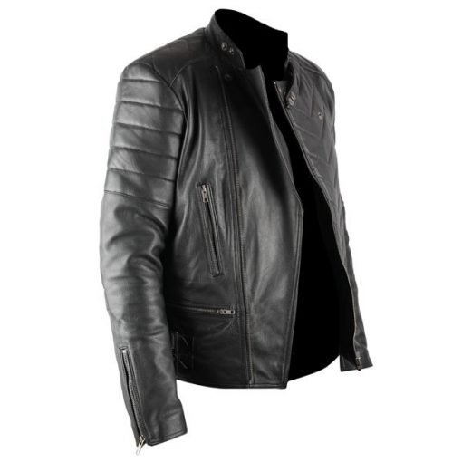 Mens Racer Black Biker Faux Leather Jacket