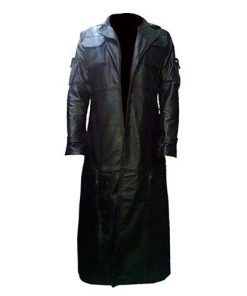 Mens Retro Black Genuine Leather Vintage Style Trench Long Coat