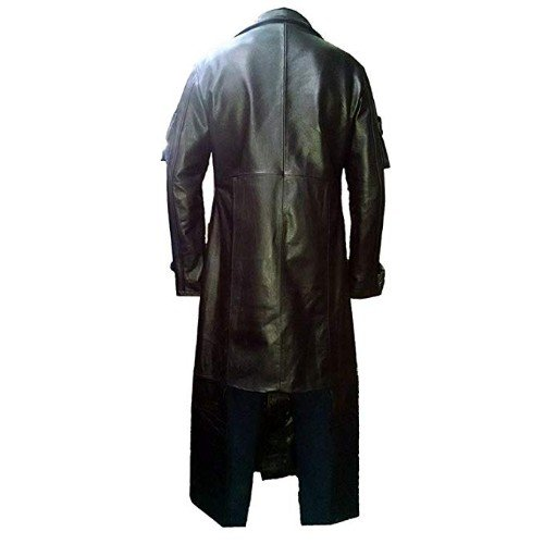 Mens Retro Black Leather Vintage Style Trench Long Coat