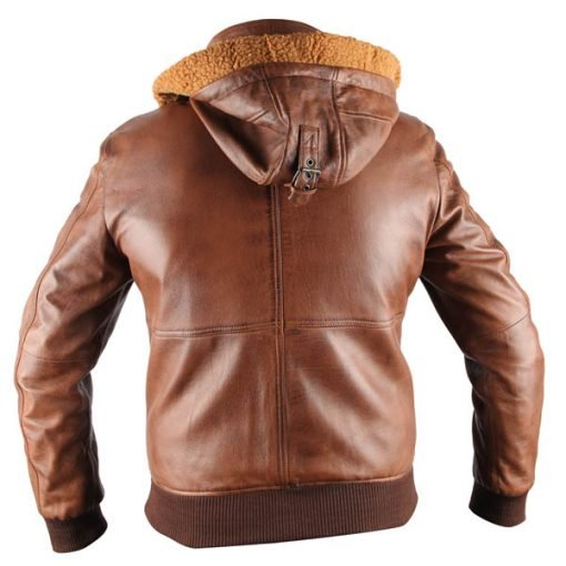 Safari Tan Brown Hooded Genuine Real Leather Jacket with Fur Lining