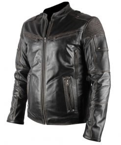 Mens Ultimate Distressed Black Biker Faux Leather Jacket