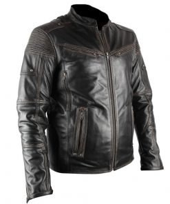 Ultimate Distressed Black Biker Genuine Real Leather Jacket