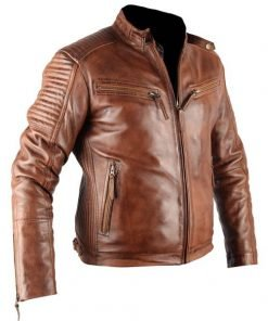 Mens Xposed Tan Genuine Real Biker Leather Jacket
