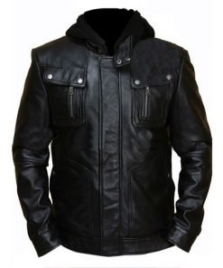 Brando Double Zip Slim Fit Genuine Leather Jacket with Detachable Hood