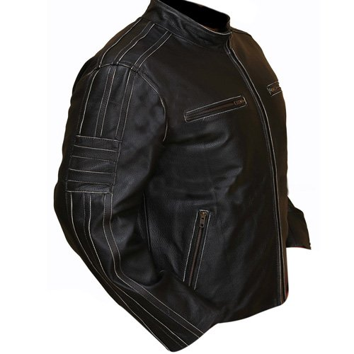 Rivet Leather Faded Seam Genuine Cowhide Distressed Leather Jacket