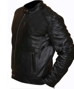 Slim Fit Biker Hunt Black Leather Jacket