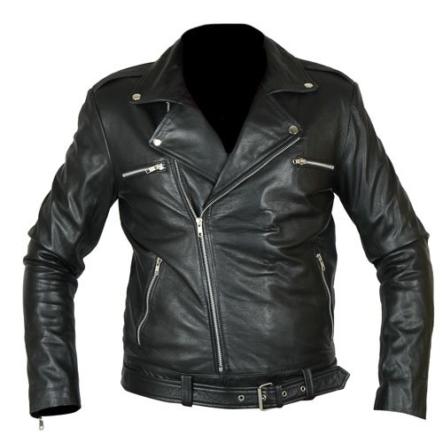 Negan Walking Dead Black Biker Genuine Real Leather Jacket