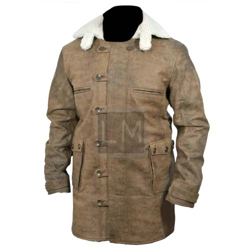 Bane Coat Distressed Brown Genuine Real Leather Jacket Dark Knight Shearling