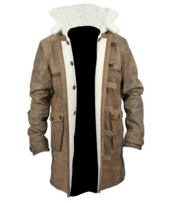 New Bane Coat Distressed Brown Genuine Cowhide Leather Jacket Faux Shearling