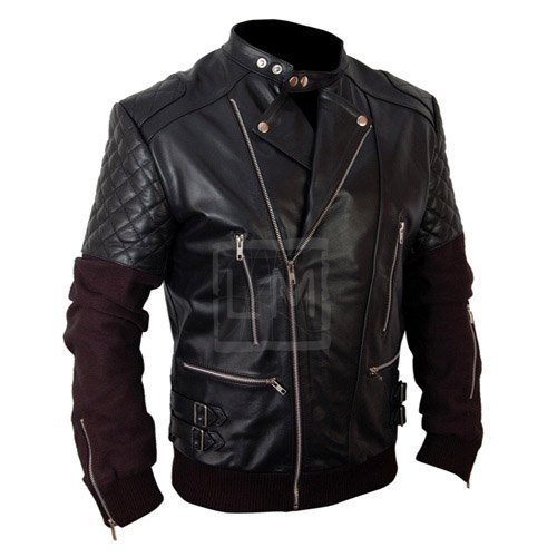 Chris Brown Black Biker Leather Jacket With Hoodie