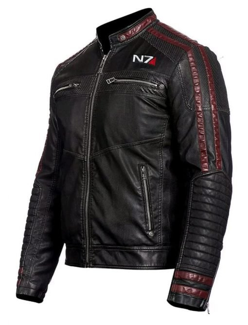 New Mass Effect 3 N7 Genuine Black Leather Jacket