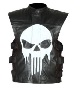 The Punisher Black Biker Genuine Real Leather Vest