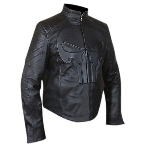 The Punisher Black Biker Genuine Real Leather Jacket