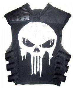 The Punisher Black Tactical Faux Leather Vest