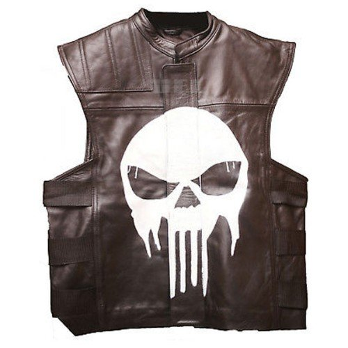 The Punisher Brown Tactical Genuine Real Leather Vest