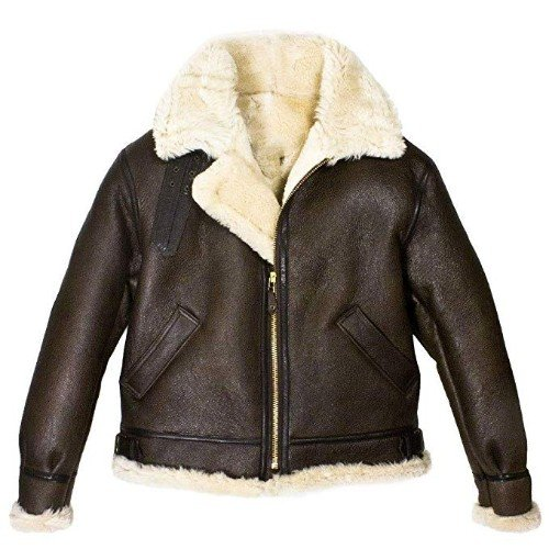 B3 Bomber Aviator A2 WWII Air Force Real Sheepskin Brown Genuine Leather Jacket
