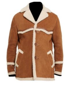 Rancher Camel Brown Genuine Real Suede Leather Coat with Sherpa Lining