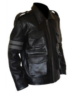 Resident Evil 6 Black Genuine Cowhide Leather Jacket Leon Kennedy