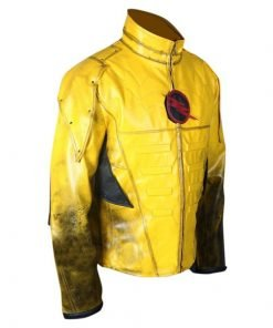 Reverse Flash Eobard Thawne Zoom Yellow Lightning Faux Leather Jacket