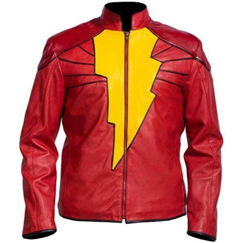 Shazam Red Faux Leather Jacket Costume