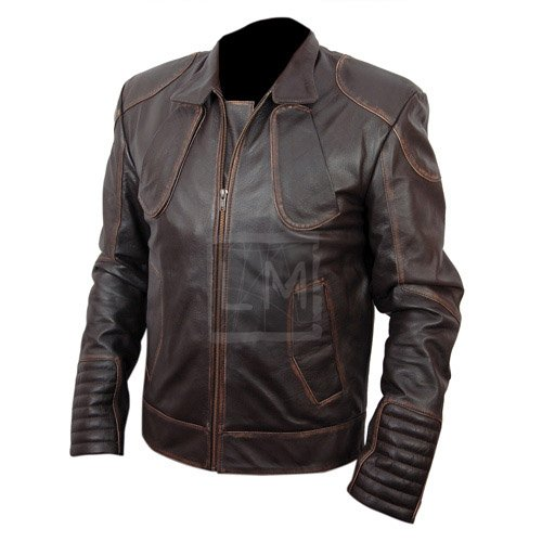 Snow Lockout Distressed Brown Genuine Real Leather Jacket