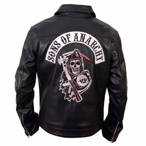 sons of anarchy black biker leather jacket leather madness. Black Bedroom Furniture Sets. Home Design Ideas
