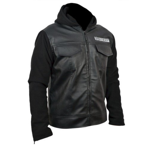 Sons Of Anarchy Black Faux PU Leather Jacket with Hoodie