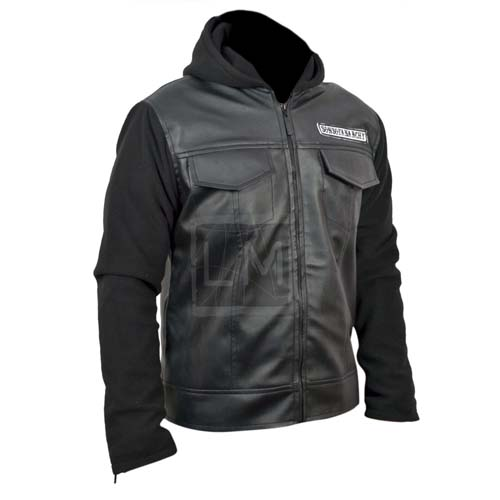 Sons Of Anarchy Black Genuine Leather Jacket with Hoodie