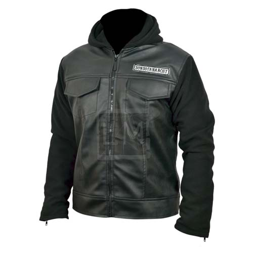 Sons Of Anarchy Black Genuine Leather Jacket with Hoodie - Leather