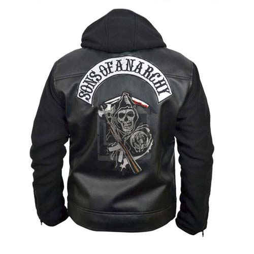 sons of anarchy black faux pu leather jacket with hoodie. Black Bedroom Furniture Sets. Home Design Ideas