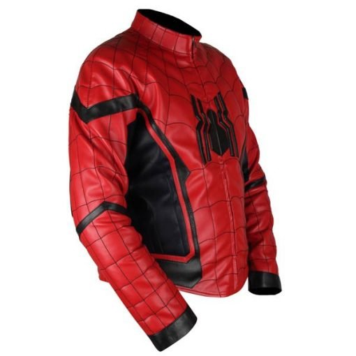 Spiderman Homecoming Red & Black Genuine Leather Jacket