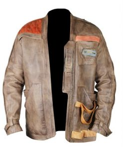Star Wars Finn Distressed Brown Genuine Leather Jacket