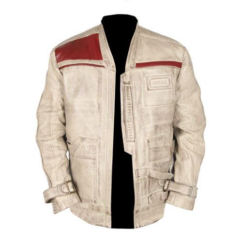 Star Wars Finn Distressed White Genuine Leather Jacket Waxed