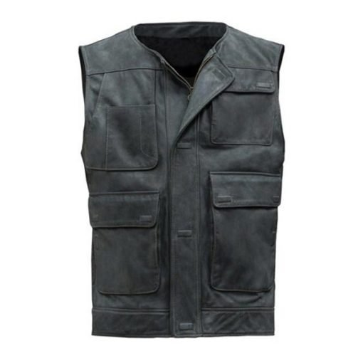 Star Wars Han Solo Black Genuine Leather Vest
