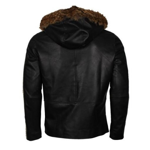 Star Wars Rogue One Black Hooded Leather Jacket