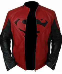 Superboy Black And Red Genuine Leather Jacket