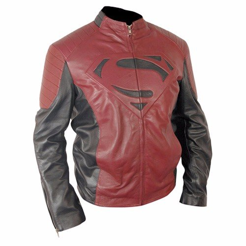 Superman Black & Red Genuine Real Leather Jacket