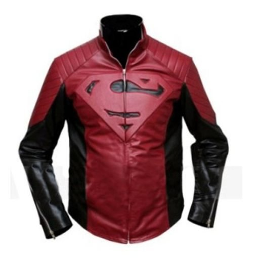 Superman Smallville Black & Maroon Genuine Leather Jacket