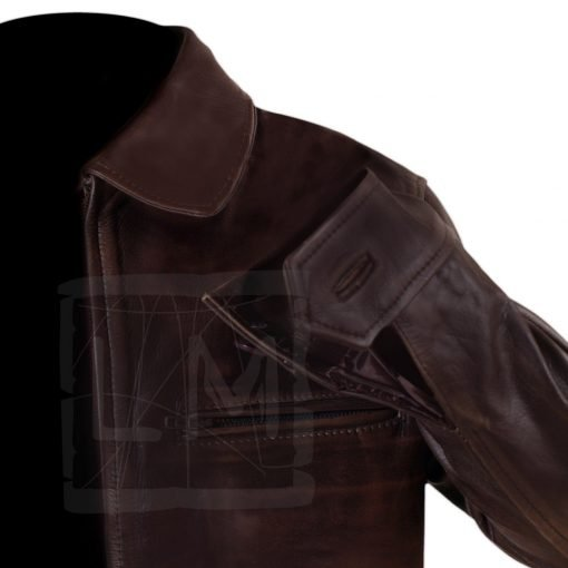 Surrogates Distressed Brown Genuine Leather Jacket Bruce Willis