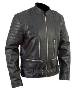 Terminator 3 T3 Arnold Schwarzenegger Black Biker Leather Jacket