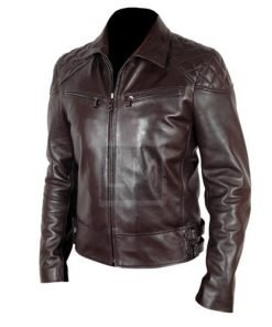Terminator 5 Brown Biker Leather Jacket