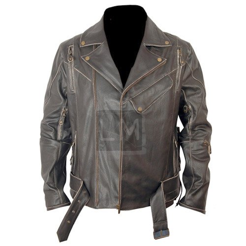 Terminator Distressed Black Biker Leather Jacket