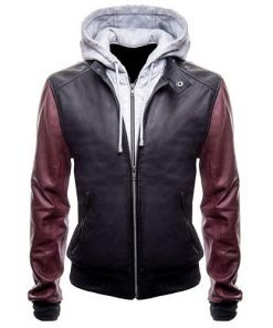 The Flash Leather Jacket With Hoodie