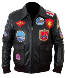 Top Gun Black Bomber Leather Jacket
